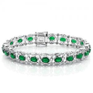 9.00 CT EMERALD &1.50 CT DIAMOND (VS CLARITY) 10KT SOLID GOLD BRACELET