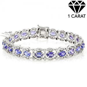 8.38 CT TANZANITE & 1.20 CT DIAMOND (VS CLARITY) 10KT SOLID GOLD BRACELET