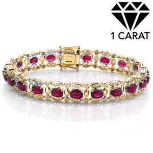 8.50 CT AFRICAN RUBY & 1.20 CT DIAMOND (VS CLARITY) 10KT SOLID GOLD BRACELET