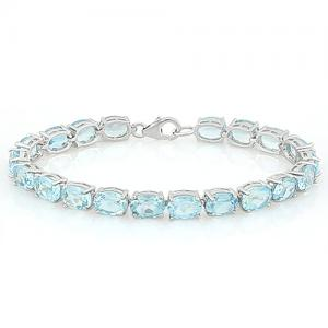 37.40 CT BABY SWISS BLUE TOPAZ 925 STERLING SILVER TENNIS BRACELET
