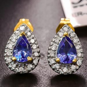 4/5 CT TANZANITE & 1/5 CT DIAMOND 10KT SOLID GOLD EARRINGS STUD