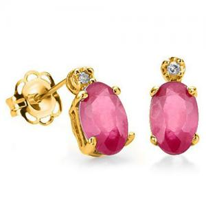 1.49 CT AFRICAN RUBY & DIAMOND (VS) 10KT SOLID GOLD EARRINGS STUD