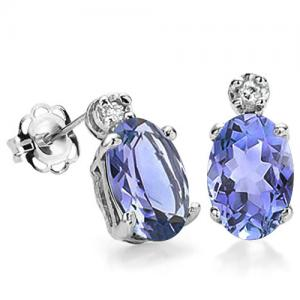 1.00 CT TANZANITE & DIAMOND 10KT SOLID GOLD EARRINGS STUD