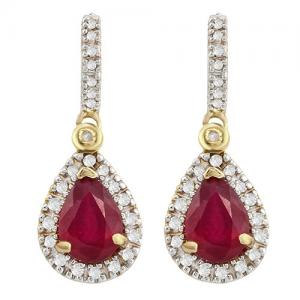 VS CLARITY ! 1.50 CT RUSSIAN RUBY & 1/4 CT DIAMOND 10KT SOLID GOLD DANGLE EARRINGS
