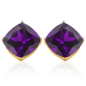 6.88 CT AMETHYST 10KT SOLID GOLD EARRINGS STUD