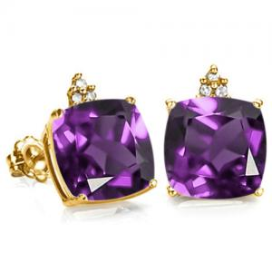 2.30 CT AMETHYST & DIAMOND 10KT SOLID GOLD EARRINGS STUD