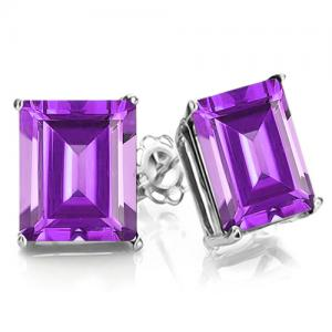 1.90 CT AMETHYST 10KT SOLID GOLD EARRINGS STUD