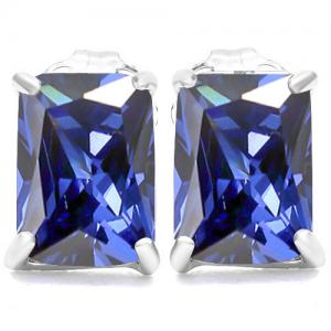 3.23 CT LAB TANZANITE 10KT SOLID GOLD EARRINGS STUD