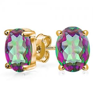 4/5 CT MYSTIC GEMSTONE 10KT SOLID GOLD EARRINGS STUD
