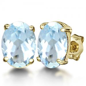 6.01 CT BABY SWISS BLUE TOPAZ 10KT SOLID GOLD EARRINGS STUD