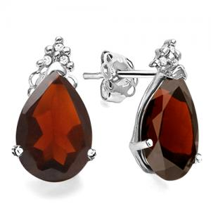 2.00 CT GARNET &  DIAMOND 10KT SOLID GOLD EARRINGS STUD