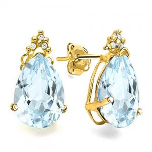 1.30 CT AQUAMARINE & DIAMOND 10KT SOLID GOLD EARRINGS STUD