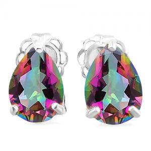1.16 CT MYSTIC GEMSTONE 10KT SOLID GOLD EARRINGS STUD