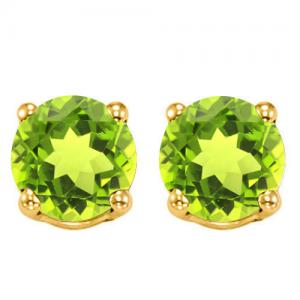 1.15 CT PERIDOT 10KT SOLID GOLD EARRINGS STUD