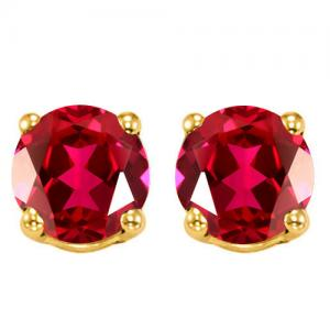 2.10 CT RUSSIAN RUBY 10KT SOLID GOLD EARRINGS STUD