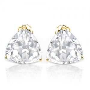 1.88 CT WHITE TOPAZ 10KT SOLID GOLD EARRINGS STUD