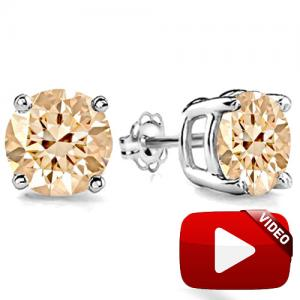 LIMITED ITEM ! 3/5 CT SPARKLING CHOCOLATE DIAMOND 10KT SOLID GOLD EARRINGS STUD