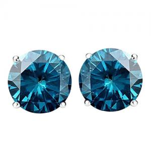 1/4 CT BLUE DIAMOND 14KT SOLID GOLD EARRINGS STUD
