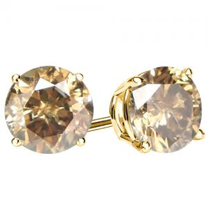 1/4 CT CHOCOLATE DIAMOND 14KT SOLID GOLD EARRINGS STUD