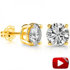 2.83 CT LAB CREATED DIAMOND (VS) 10KT SOLID GOLD EARRINGS STUD