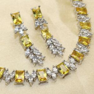 (CERTIFIED LOT 61309) NATURAL AAAAA QUALITY CUBIC ZIRCONIZ ALLOY NECKLACE (SIZE 18 INCHES)