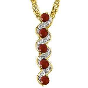 1/2 CT RUBY & DIAMOND 10KT SOLID GOLD PENDANT