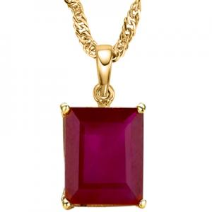 6.85 CT RUBY 10KT SOLID GOLD PENDANT