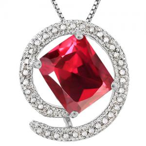 3.71 CT RUSSIAN RUBY & 1/5 CT DIAMOND 10KT SOLID GOLD PENDANT