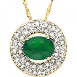 1.80 CT EMERALD & 1/4 CT DIAMOND 10KT SOLID GOLD PENDANT