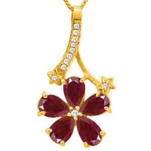2.45 CT RUBY & DIAMOND 10KT SOLID GOLD PENDANT