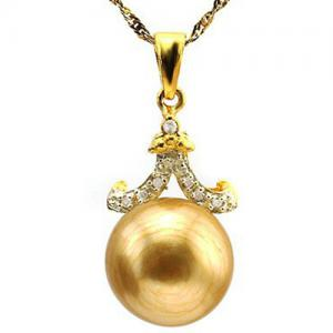 12MM GOLDEN PEARL & DIAMOND 10KT SOLID GOLD PENDANT