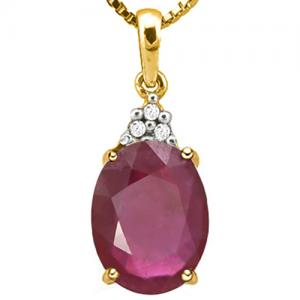 4/5 CT AFRICAN RUBY & DIAMOND 10KT SOLID GOLD PENDANT