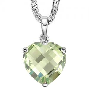 3/4 CT GREEN AMETHYST 10KT SOLID GOLD PENDANT