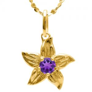 0.17 CT AMETHYST 10KT SOLID GOLD PENDANT