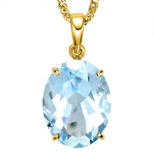 1/2 CT BABY SWISS BLUE TOPAZ 10KT SOLID GOLD PENDANT