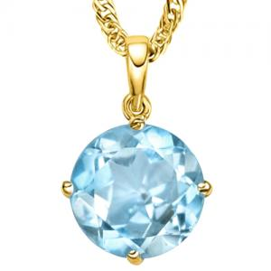 3/5 CT BABY SWISS BLUE TOPAZ 14KT SOLID GOLD PENDANT