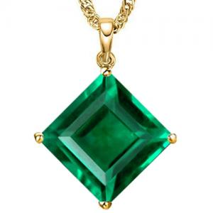 3.26 CT RUSSIAN EMERALD (VS) 10KT SOLID GOLD PENDANT