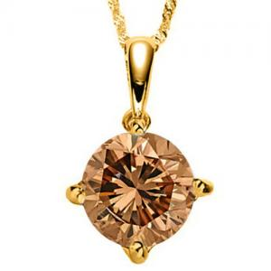 1/5 CT GENUINE CHOCOLATE DIAMOND 14KT SOLID GOLD PENDANT