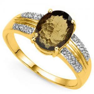 1.45 CT BROWN TOURMALINE & DIAMOND 10KT SOLID GOLD RING
