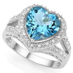 4.14 CT BABY SWISS BLUE TOPAZ & 1/5 CT DIAMOND 10KT SOLID GOLD RING