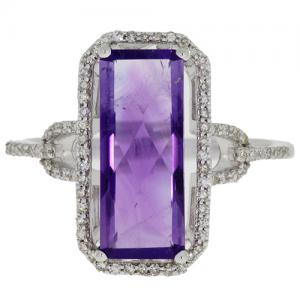 (CLOSEOUT #806) FINE JEWELRY 2.00 CT AMETHYST &  (SI-I1) DIAMOND 14KT SOLID GOLD RING (SIZE 7)