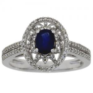 (CLOSEOUT #808) FINE JEWELRY 2/3 CT SAPPHIRE & (SI-I1) DIAMOND 14KT SOLID GOLD RING (SIZE 7)