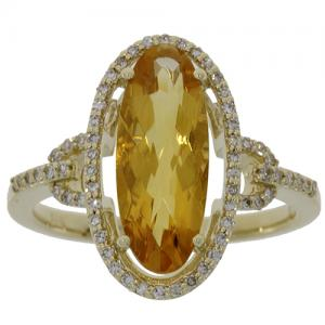 (CLOSEOUT #817) FINE JEWELRY CITRINE & (SI-I1) DIAMOND 14KT SOLID GOLD RING (SIZE 7)