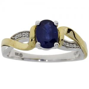 (CLOSEOUT #834) FINE JEWELRY 1.00 CT SAPPHIRE & (SI-I1) DIAMOND 10KT SOLID GOLD RING (SIZE 7)