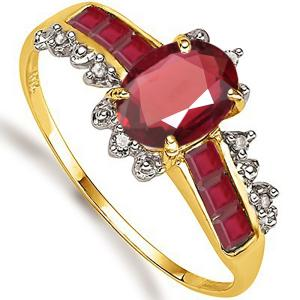 1.30 CT RUBY & DIAMOND 10KT SOLID GOLD RING