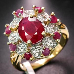 4.00 CT RUBY & DIAMOND 10KT SOLID GOLD RING