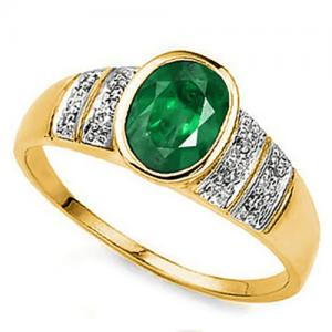 3/4 CT EMERALD & DIAMOND 10KT SOLID GOLD RING
