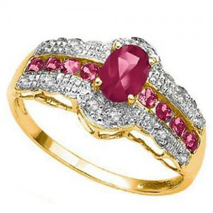 1.23 CT RUBY & 1/5 CT DIAMOND 10KT SOLID GOLD RING