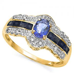 1/2 CT TANZANITE & 1/2 CT SAPPHIRE 10KT SOLID GOLD RING