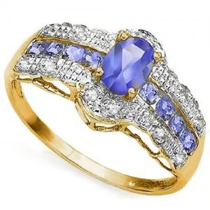 1.00 CT TANZANITE & 1/5 CT DIAMOND 10KT SOLID GOLD RING
